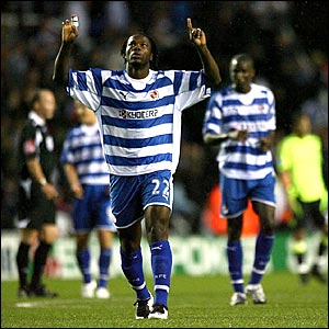 Reading's Andre Bikey celebrates scoring against Chelsea