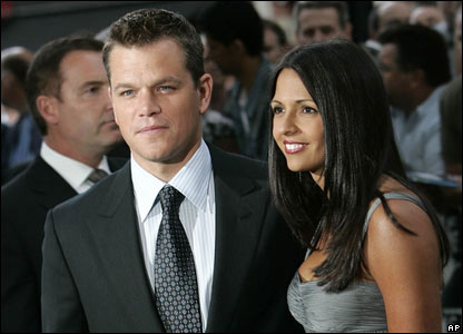 Matt Damon and wife Luciana Bozan Barroso at the Bourne Ultimatum premiere in London