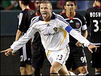 David Beckham celebrates his goal