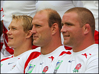 Josh Lewsey, Lawrence Dallaglio and England captain Phil Vickery