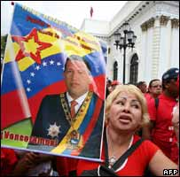 Supporters of Venezuelan President Hugo Chavez demonstrate in front of the National Assembly in Caracas