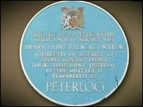 Peterloo plaque