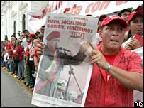 Pro-Chavez rally outside National Assembly, 15 August 2007