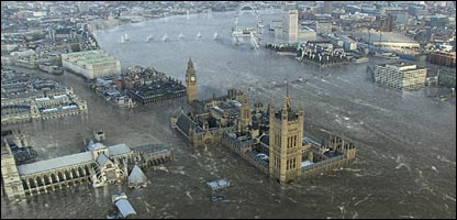 House of Parliament, London Eye and other landmarks under water