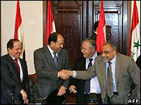 From left to right: Leader of autonomous Kurdish region Massud Barzani, PM Nouri Maliki, President Jalal Talabani, Shia Vice President Adel Abdul-Mahdi