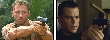 Daniel Craig as James Bond (l) and Matt Damon as Jason Bourne