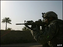 A US soldier on patrol in Iraq