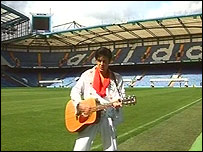 Andy Woodward as Elvis at Chelsea's ground, Stamford Bridge