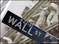 Cartel en la calle de Wall Street en Nueva York