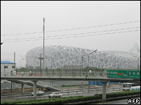The Olympic stadium, blanketed in haze on 31 July 2007