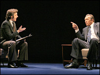 Michael Sheen (l) and Frank Langella in the play Frost/Nixon