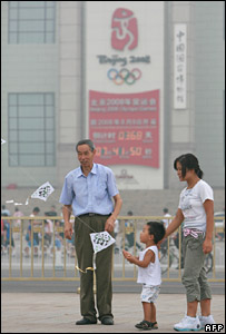 A Chinese family in central Beijing on 6 August 2007