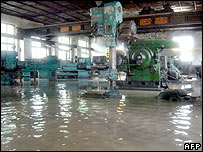 Flooded factory in North Korea's North Hwanghae province - picture from the Korean News Service