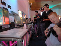 Gamers trying out prototype titles, U of Abertay Dundee
