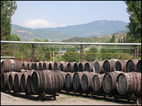 Barrels of wine in Crimea, Ukraine