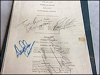 Jukebox Jury script signed by The Beatles
