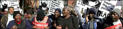 Protesters outside the High Court in Pretoria