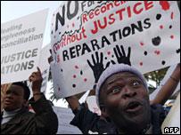 Protesters outside the High Court in Pretoria