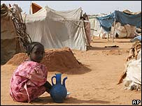A girl in a Darfur refugee camp