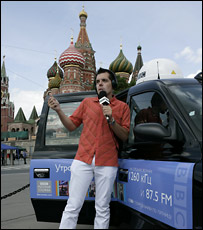 Репортер Русской службы Би-би-си на Красной площади в Москве