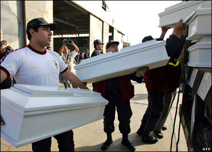 Police officers load empty children's coffins at the Peruvian air base.