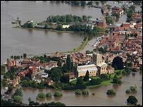 Tewkesbury during the floods