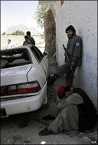 Car destroyed by bomb in Kandahar on 17 August