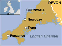 Map showing Newquay