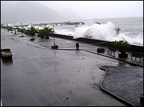 Sea surge caused by Hurricane Dean in Dominica