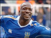 John Utaka celebrates scoring for Portsmouth