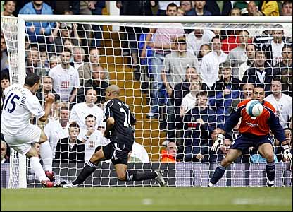 Steed Malbranque (left) scores his second goal against Derby