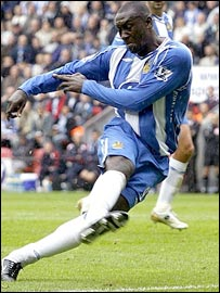 Emile Heskey scores for Wigan after 19 minutes