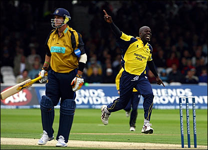 Hampshire's Kevin Pietersen departs for 12 (left) while Durham's Ottis Gibson celebrates