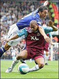Stephen Kelly (in blue) challenges Kieron Dyer in a tackle which West Ham though should have earned them a penalty at Birmingham