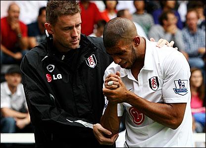 Hameur Bouazza is helped from the field