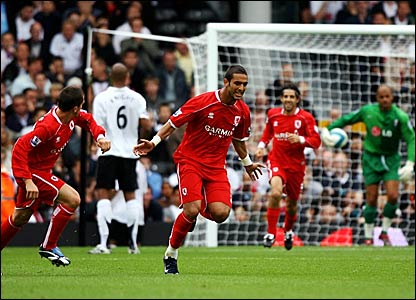 Middlesbrough's Ahmed Mido celebrates scoring against Fulham