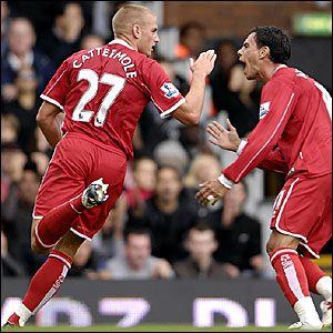 Lee Cattermole and Jeremie Alliadiere celebrate Middlesbrough's winner at Craven Cottage