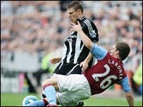 Newcastle's James Milner and Villa's Craig Gardner