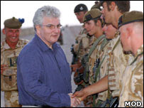 Des Browne in Afghanistan (MoD handout photo)