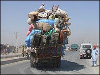 Overloaded refugee truck