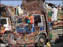 Refugees' trucks
