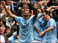 Geovanni celebrates after putting Man City ahead