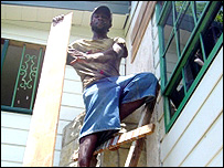 Boarding up in Stony Hill, Jamaica