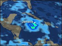 Forecast map of Hurricane Dean