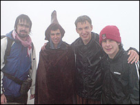 Peter Phennah and Rob Snellgrove (centre) with friends Jason and Ieuan at the top of Snowdon