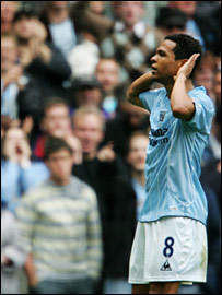 Geovanni takes the applause of the Man City fans after scoring the winner against derby rivals United