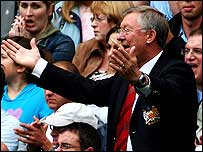 Sir Alex Ferguson holds his hands up in frustration as his Man Utd side lose to Man City