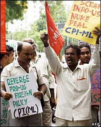Demonstration against nuclear deal by the ultra-Left Communist Party of India (Marxist-Leninist).