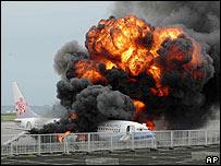 China Airlines plane in flames at Naha Airport in Okinawa, Japan - 20/08/07 (photo credit: AP Photo/Ryukyu Shimpo via Kyodo News, Hiroshi Tsujimoto)