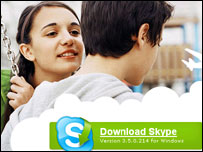 Screengrab of Skype homepage, Skype